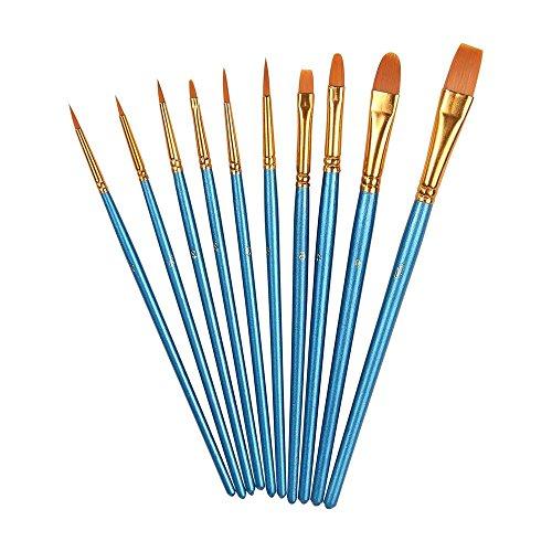 Aolvo Kunstpinselset, Nylonborsten, für Aquarell-, Öl-, Acrylfarben und zum Kinderschminken, 10 verschiedene Pinselformen