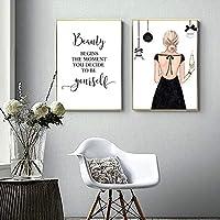 ファッション美容キャンバスポスターファッション引用ポスターそしてプリント水彩壁アートパネルプリントミニマリスト壁絵画インテリア寝室装飾40x50cmx2いいえフレーム