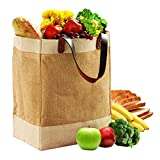 EXULTIMATE Reusable Jute French Market Tote Burlap Grocery Bags with Faux Leather Strap Handles, Interior Pocket, and Plastic Waterproof Lining Jute Shopping Bag