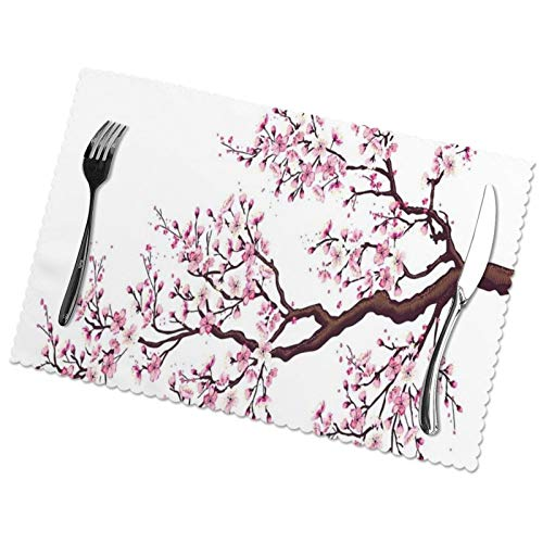 Perfect household goods Flourishing-Sakura-Tree-Flowers-Cherry-Blossoms-Spring-Theme-Art Placemats Set of 6 for Dining Table Washable Woven Vinyl Placemat Non-Slip Heat Resistant Kitchen Table Mats