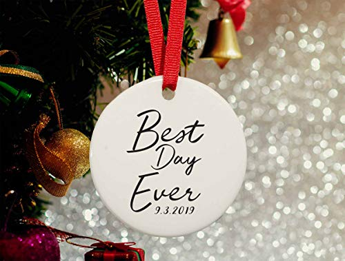 DKISEE Best Day Ever - Celebration Christmas Ceramics Ornament - Porcelain Engagement Ceramics Ornament - Wedding Party Gifts Graduation Gift, Pregnancy Announcement 3.1 Inch