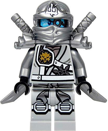 LEGO Ninjago : Zane Minifigure di Titanio (Argento Ninja) con l'armatura della Spalla e Due katane (Spade) Novelty 2015