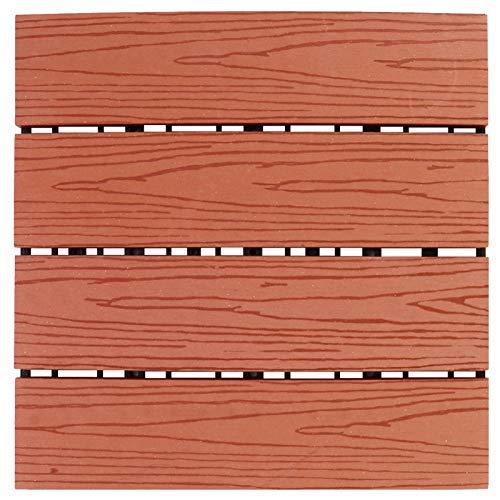 Cabilock Interlocking Deck Tile Plastic Wood Composite Patio Deck Tile Rain Weather Resistant for Outdoor Balcony Backyard Decking Flooring Red