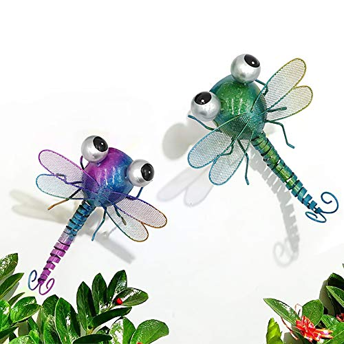 TENGZHEN Metal Dragonfly Wall Art Decor Wall Sculptures Hanging for Indoor and Outdoor Decorations for Home Yard Garden Bedroom Set of 2