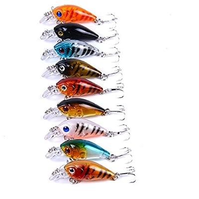 Aorace 9 Pcs/Lot Crankbait Fishing Lure 10# Hooks Fish Wobbler Tackle Crank Bait Isca Artificial Hard Bait Swimbait 4.5cm 4G by Aorace