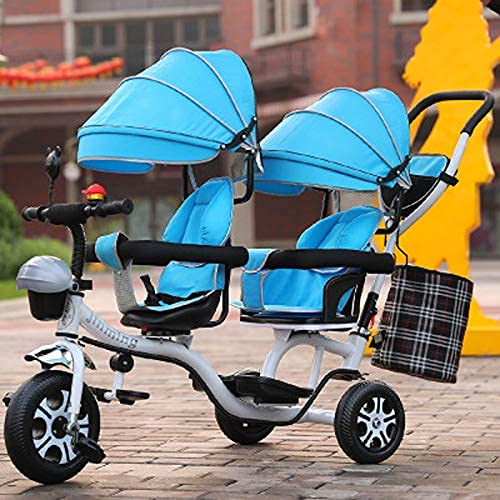 GST trikes Children's Tricycle, High Carbon Steel 3-6 Years Old Children's Rotary Seat, Hand-Pedicab, Double Awning, Men And Women, Lightweight Children's Bicycle Bike Three-Wheeler,Blue