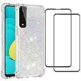 Coque pour Huawei P Smart 2021 avec 2 Verre Trempé Liquide Mouvants Cover Glitter Transparent...