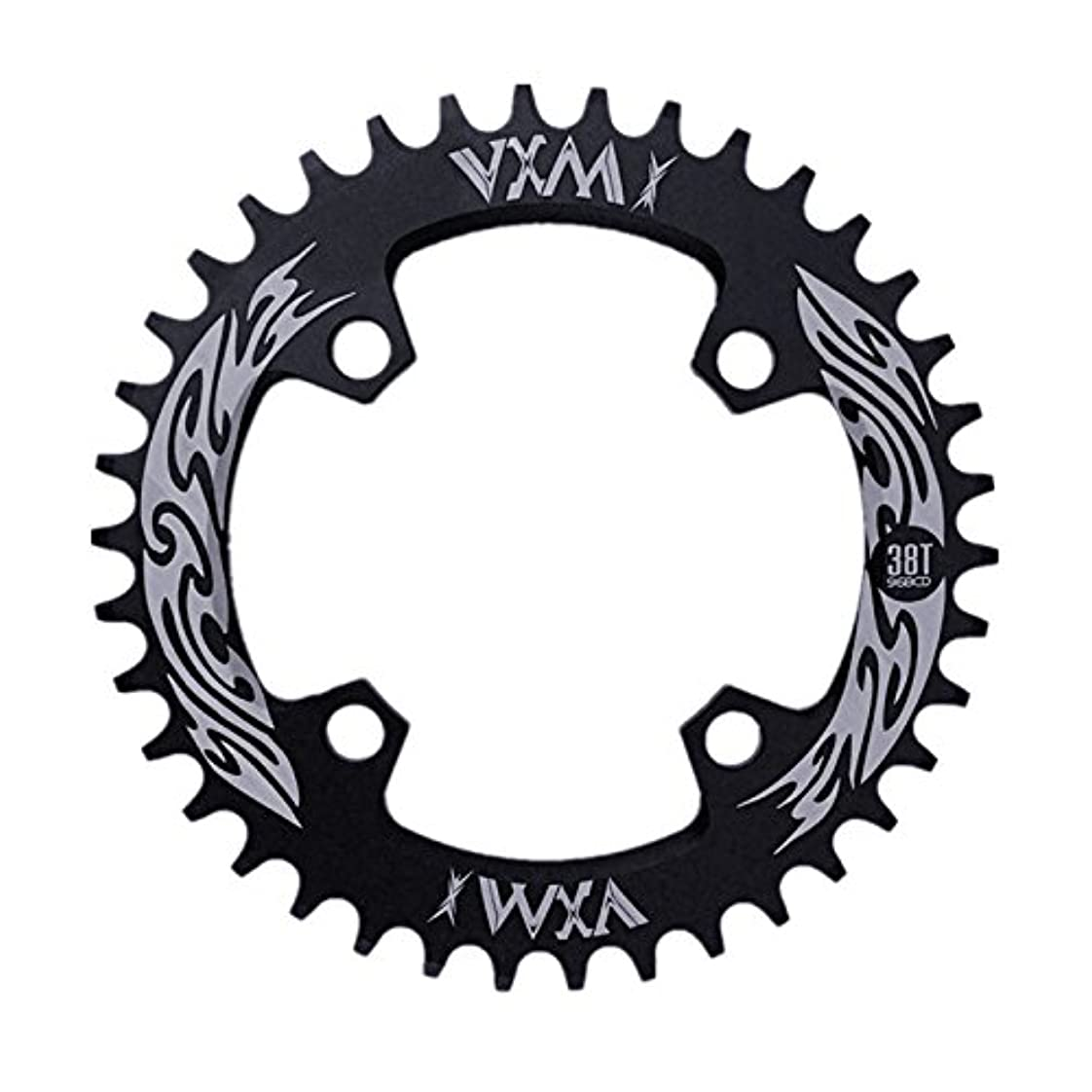 少数眠り失態Propenary - Bicycle Crank & Chainwheel 96BCD 38T Ultralight Alloy Bike Bicycle Narrow Wide Chainring Round Chainwheel Cycle Crankset [ Black ]