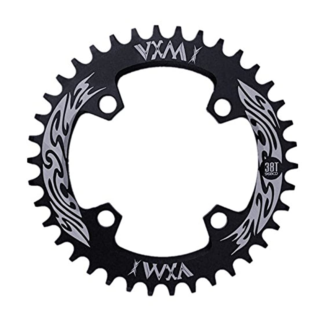 神昼食浴Propenary - Bicycle Crank & Chainwheel 96BCD 38T Ultralight Alloy Bike Bicycle Narrow Wide Chainring Round Chainwheel Cycle Crankset [ Black ]