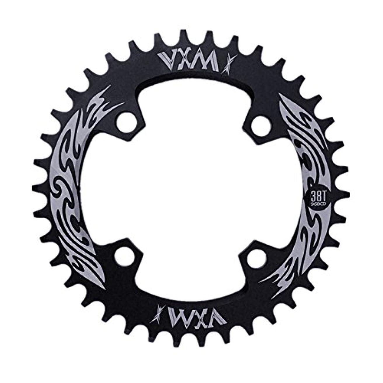 提供波紋進むPropenary - Bicycle Crank & Chainwheel 96BCD 38T Ultralight Alloy Bike Bicycle Narrow Wide Chainring Round Chainwheel Cycle Crankset [ Black ]