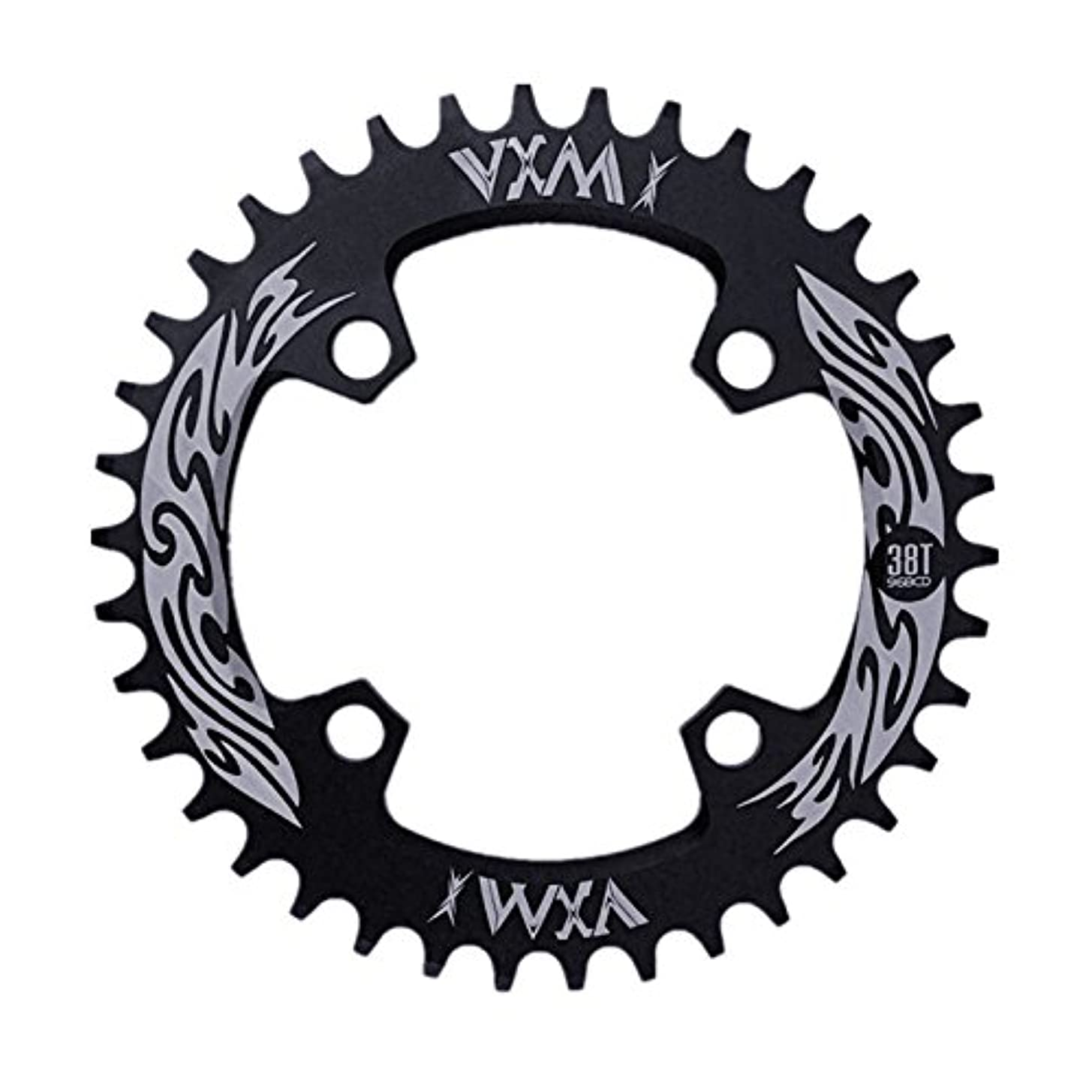 適性印象的雑種Propenary - Bicycle Crank & Chainwheel 96BCD 38T Ultralight Alloy Bike Bicycle Narrow Wide Chainring Round Chainwheel Cycle Crankset [ Black ]