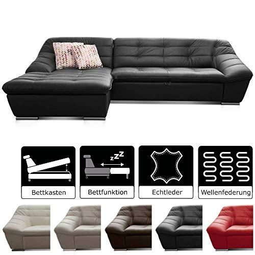 Cavadore Leder-Sofa Lucas / Ledercouch mit Steppung und Schlaffunktion / Longchair links / Inkl. Bett und Bettkasten Größe: 287 x 81 x 165 (BxHxT) / Leder schwarz