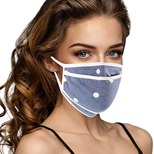 Cloth Face Mask Washable with Filter Pocket - Fashionable Women Designs are Washable, Breathable and Reusable - Soft Cotton Blend for Comfortable Protective Covering - Made in USA (Blue/White Polka)