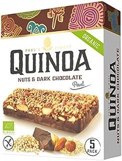5 x 25grs Barritas Quinoa, Chocolate Negro, Avellanas y almendras. Organico y Sin