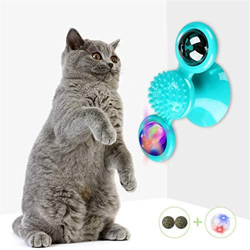 TaimeiMao Windmühle Katzenspielzeug,Plattenspieler Katzenspielzeug,Saugnapf Drehbare Interaktives Spielzeug, Katze Haarbürste Plattenspieler Massage Kratzen Tickle Toy (Blau)
