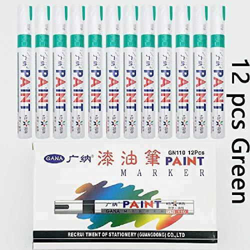 meixiang 12/Box Farbe Wasserdichten Stift, Auto Reifen Lauffläche CD Metall Permanente Farbe Markieren Graffiti ÖL-basierte Marker Stift 12 Stück grün