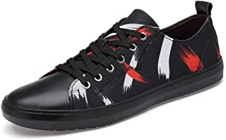 XUJW-Shoes, Summer Skateboard Sneakers for Men Casual Outdoor Walking Flat Cloth Shoes Lace Up Canvas Shoes Low Top Durable Walking Travel Classic Soft (Color : Black, Size : 8.5 UK)