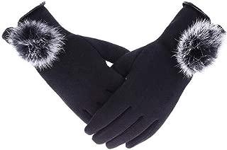 SGJFZD Women's Winter Cashmere Touched Gloves Cashmere Thin Wrist Gloves Warm Rabbit Hair Ball Gloves Windbreak Gloves (Color : Black, Size : OneSize)