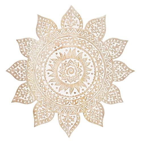 Orientalische Holz Ornament Wanddeko Sole Weiss 40cm gross XL | Orientalisches Wandbild Wanpannel in Weiß als Wanddekoration | Vintage Triptychon als Dekoration im Schlafzimmer oder Wohnzimmer