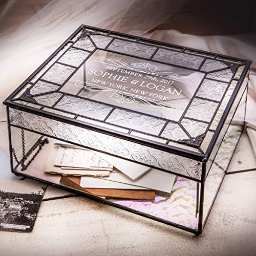 J Devlin Box 840 CBE 843 Personalized Wedding Card Box Engraved Glass Wedding Card Holder Reception Keepsake Display