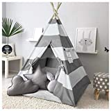 Kids Teepee Tent for Kids Play Teepee Tent for Boys Indoor Outdoor Play House, Kids Teepee Play Tent for Boys,Canvas Tipi Tent Kids,Grey Stripe Teepee