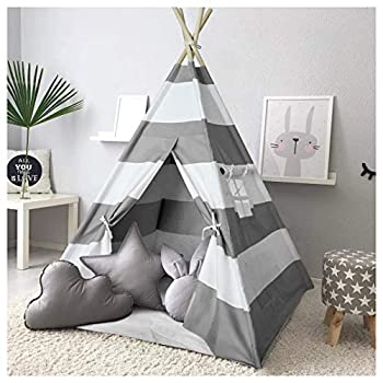 Kids Teepee Tent for Kids Play Teepee Tent for Boys Indoor Outdoor Play House Kids Teepee Play Tent for Boys,Canvas Tipi Tent Kids,Grey Stripe Teepee