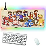 Gaming Mouse Pad Gaming Mousepad Pokemon RGB Glowing Mouse Pads Durable Pads Waterproof for PC Laptop Keyboard Mice Pad for MacBook Laptop Desk 27.6x11.8in