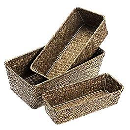 Sumnacon 3pcs Panier de Rangement Panier pour étagère Boîte de Rangement Tissage en rotin (Rectangle,café)