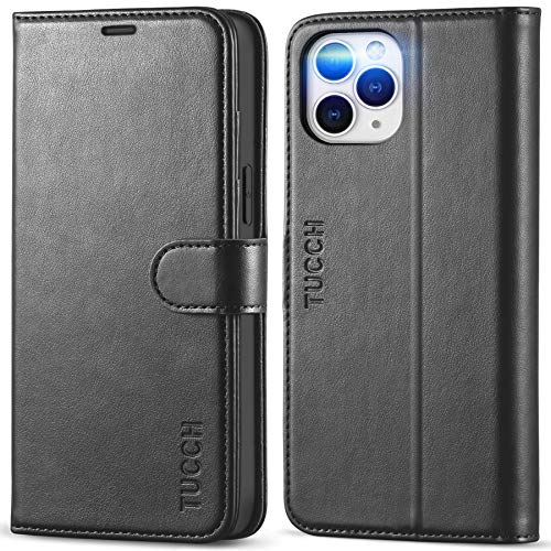 """TUCCH Wallet Case for iPhone 12 Pro Max 5G, RFID Blocking Card Slot Stand Phone Case with [Shockproof TPU Interior Case], PU Leather Magnetic Flip Cover Compatible with iPhone 12 Pro Max 6.7"""", Black"""