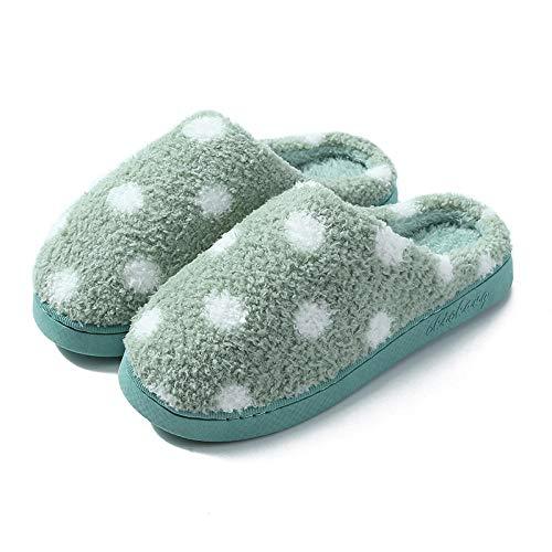 Nwarmsouth Invierno Memory Foam Casa Zapatos,Zapatos de algodón de Lunares de Invierno, Pantuflas cálidas de Interior-2 Verde_36-37,Zapatillas de Hombre Durables y cómodas