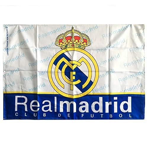 Louishop World Football Club Fußballmannschaft-Flagge FC, Banner für Wand, Terrasse, Garten, Rasen, Outdoor (95,2 x 65 cm, Real Madrid)