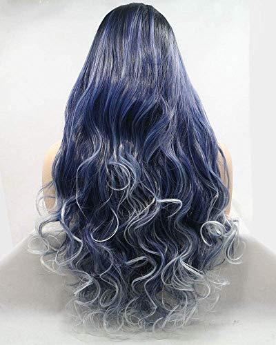 Blauwe Lace Front pruik lang haar Body Wave stijl Drag Queen pruiken voor vrouwen dames Cosplay Party
