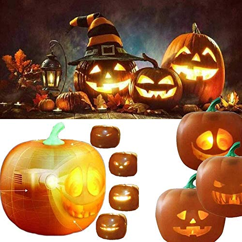 Halloween Flash Talking Animated LED Pumpkin Projection Lamp, jabberin jack Atmosphere Pumpkin Lights,LED Pumpkin Projection Lamp Halloween-Dekoration für Hauptparty