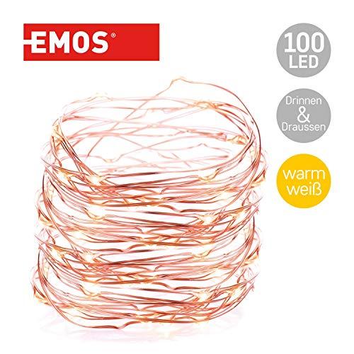 Emos LED Lichterkette Typ Nano Kupferdraht 15m, 100 LEDs, 230V mit Stecker, mit Timer-Funktion, geeignet für Innen & Aussen, Wasserdicht IP44, Farbe: warmweiß