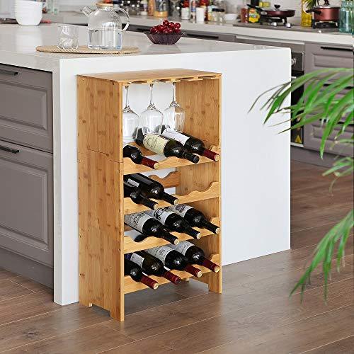 Groot wijnrek van bamboe hout voor 16 flessen wijn en 8 wijnglazen - Design wijnflessenrek/flessenrek met wijnglashouder - Decopatent
