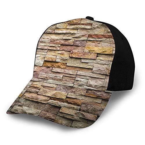 Unisex borde gorra de béisbol urbano ladrillo pizarra piedra pared con rocas destacado fachada arquitectura ciudad imagen poliéster tela tela papá sombrero béisbol
