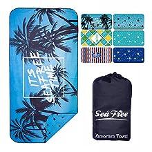 Sea Free Toalla de Playa Grande de Microfibra de Verano 90x180cm, Anti-Arena, Fuerte Absorción de Aguat Súper Blando y Secado Rápido, para Deportes, Viajes, Natación, Playa, Yoga o Baño