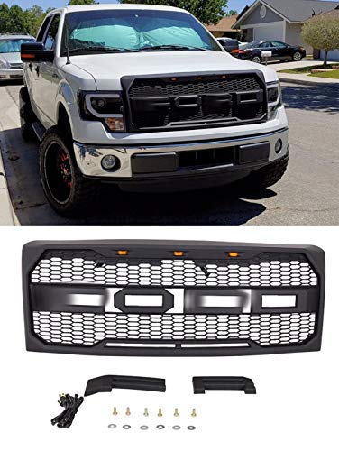 Front Grille for F-150 2009 2010 2011 2012 2013 2014 Raptor Style,Front Hood Grille for F150 with Replaceable Letters and 3 Amber Led Lights,Matte Black