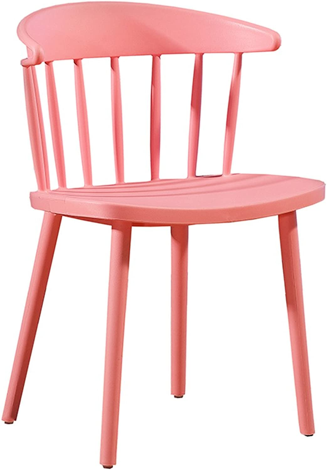 LRW Modern Simple Dining Chair, Home Plastic Backrest, Nordic Leisure Chair, Milk Tea Shop Chair (color   Pink)