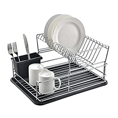 Glanzhaus 2-Tiered Stylish Designed Small Deep Stainless Steel Collapsible Kitchen Dish Drying Rack, Dish Drainer and Black Cutlery Holder with Black Silicone Drainboard