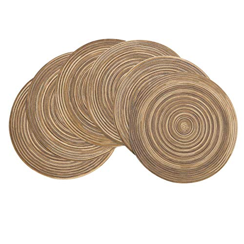 Pauwer 38cm Round Placemats Set of 6 Braided Woven Non Slip Heat Resistant Table Mats for Christmas Kitchen Wedding Party Gatherings Light Brown