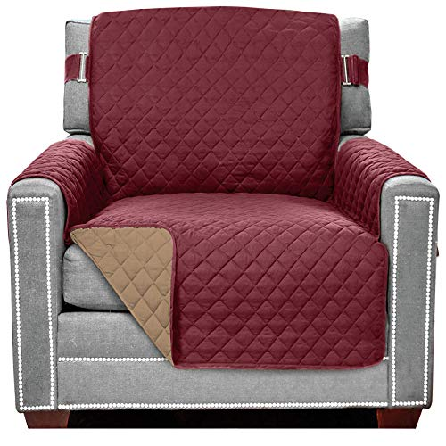 Sofa Shield Original Patent Pending Reversible Chair Protector, Many Colors, Width up to 23 Inch, Furniture Slipcover 2 Inch Strap, Chairs Slip Cover Throw for Pets, Kids, Dogs, Armchair, Burgundy Tan