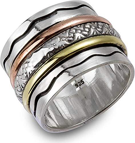 Energy Stone AUSSTRAHLUNG Ring mit welligem Muster und 3 Drehringen (Style UK10)
