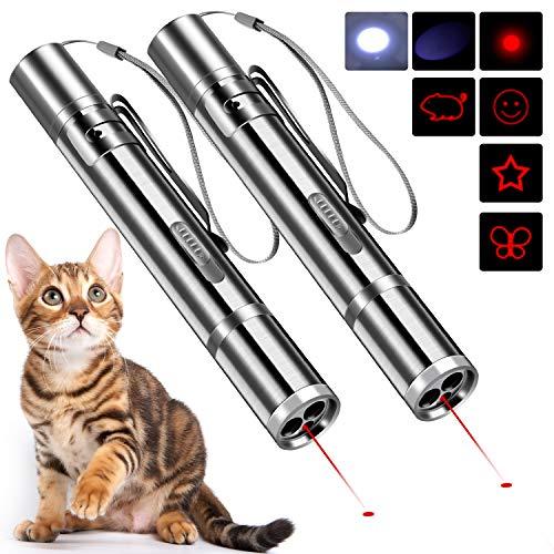 2 Stück LED Pointer für Katzen Spielzeug Haustier Katze interaktive Spielzeug USB wiederaufladbar Katze Chaser Spielzeug