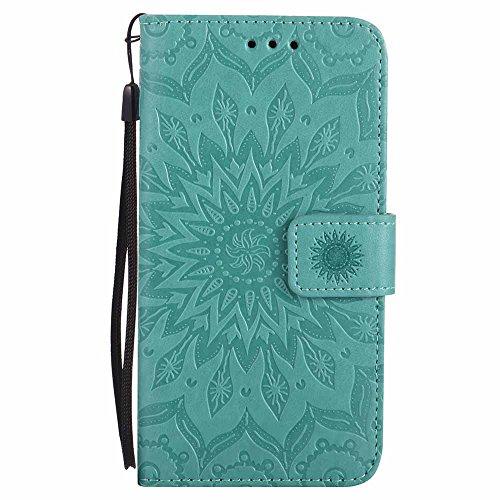 Coque K10, Dfly [Datura Fleurs de Motif] [Stand de Portefeuille] [Fermeture Magnétique] Protecteur Coque Ultra Mince Premium PU Cuir Etui Carte Fente Housse de Protection pour LG K10, Vert