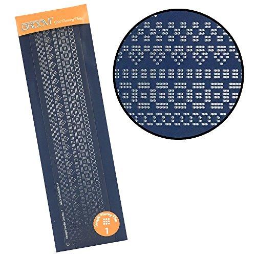 Groovi Border Grid Piercing Patroon Plaat - Recht No.1
