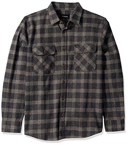 Brixton Herren Bowery Standard FIT Long Sleeve Flannel Shirt Button Down Hemd, Schwarz/Heather Grey, Klein