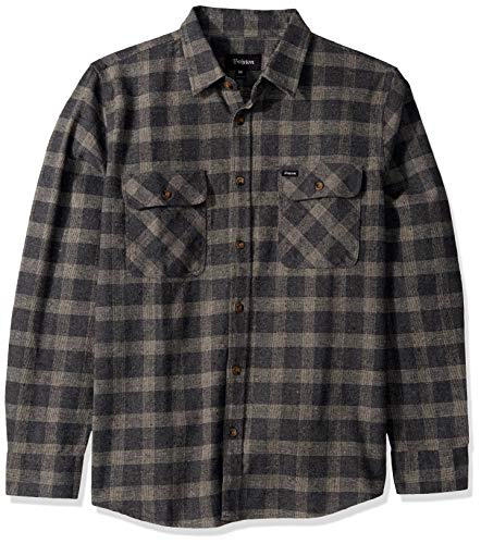BRIXTON Herren Bowery Standard FIT Long Sleeve Flannel Shirt Button Down Hemd, Schwarz/Heather Grey, Klein
