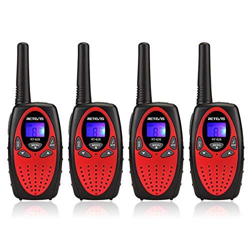 Retevis RT628 Walkie Talkies para Niños, Regalos de Juguete familia Recargables Largo Alcance para Cumpleaños y Vacaciones, Fácil de Usar para Cámping, Caminar y Aventuras (2 Pares, Rojo)