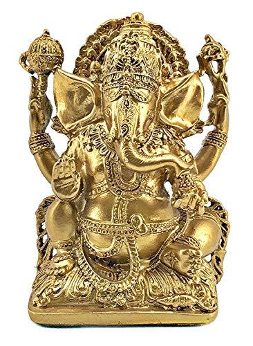 Bellaa 20171 Lord Ganesha Statue Hindu God Idol Blessing Ganesh Indian Buddha Elephant Housewarming Gift Good Luck Success Golden Marble